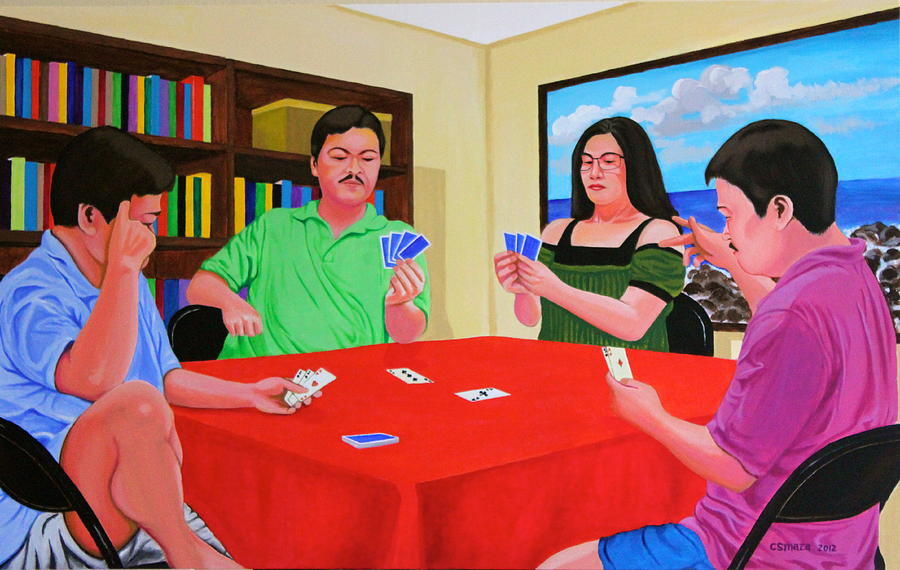 Three Men And A Lady Playing Cards Painting