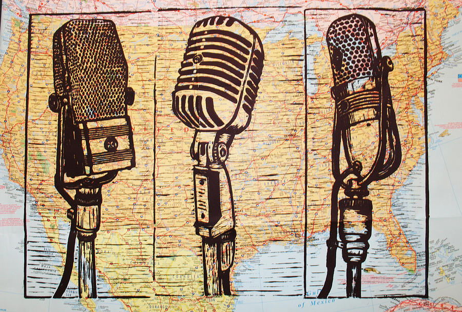Three Microphones On Map Drawing  - Three Microphones On Map Fine Art Print