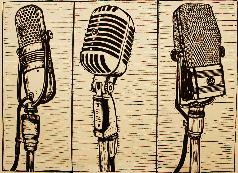 Three Microphones Drawing  - Three Microphones Fine Art Print