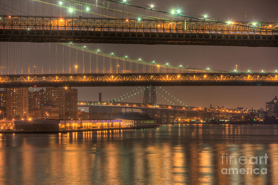 Clarence Holmes Photograph - Three New York Bridges by Clarence Holmes
