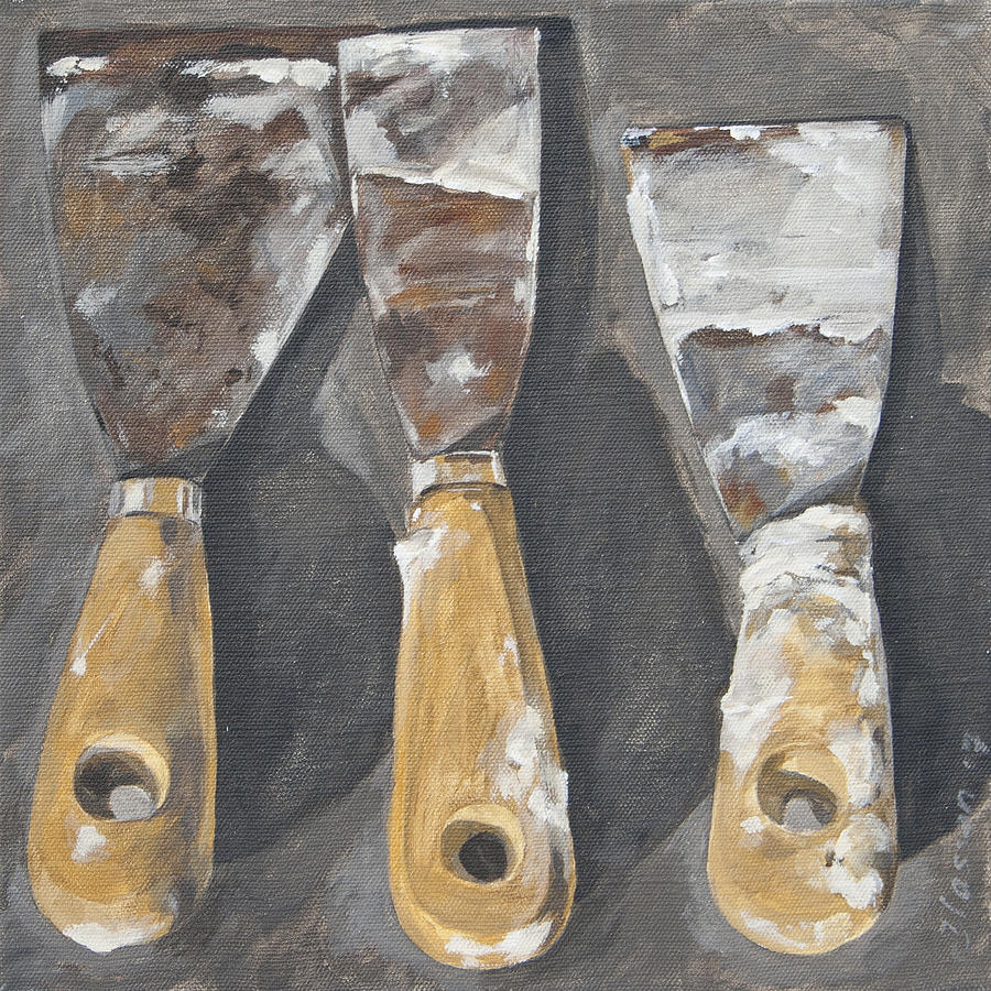Three Palette Knives Painting By Anke Classen