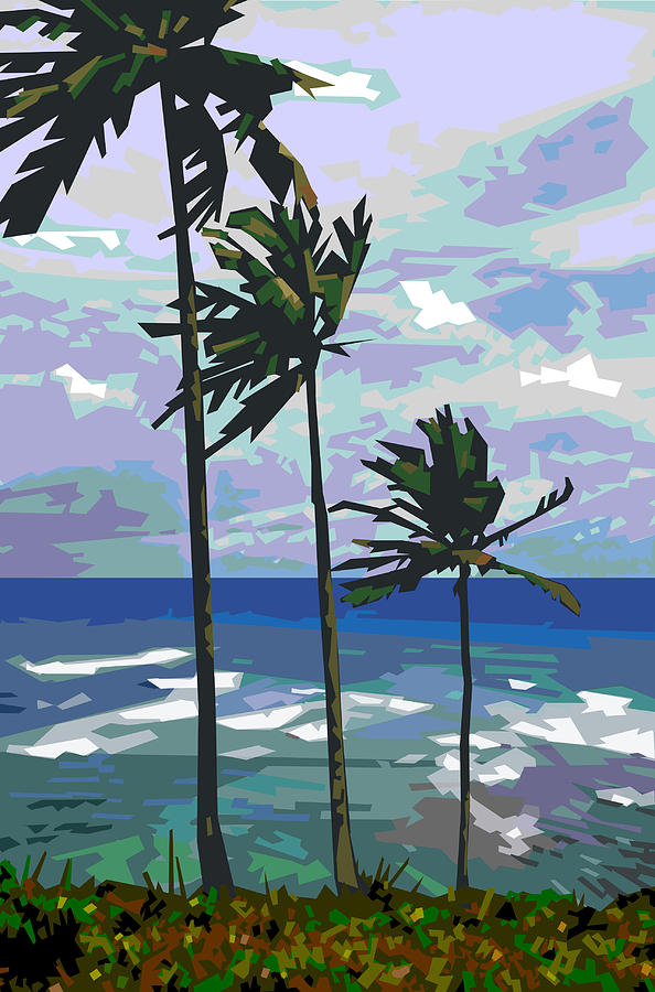 Palm Trees Digital Art - Three Palms by Douglas Simonson