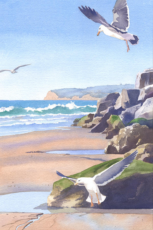 Seagull Painting - Three Seagulls At Coronado Beach by Mary Helmreich