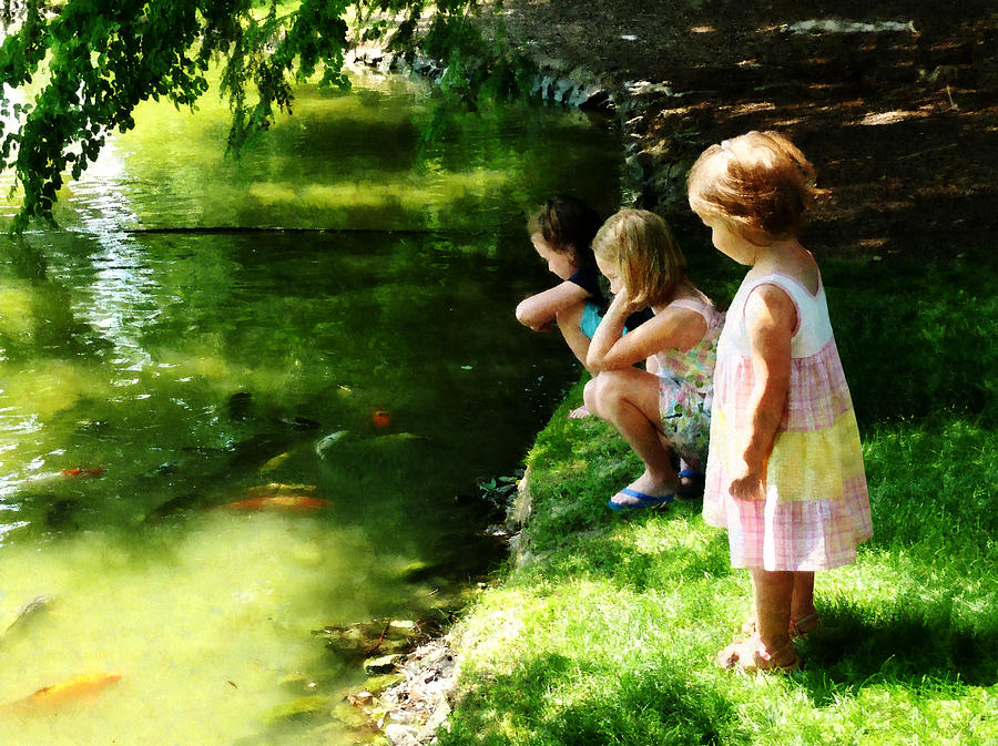 Three Sisters Watching Koi Photograph  - Three Sisters Watching Koi Fine Art Print