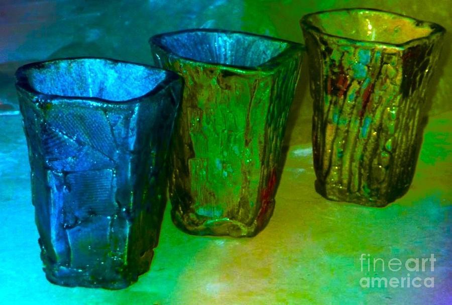 Smoke Fired Ceramic Art - Three Smoke Fired Vases by Joan-Violet Stretch