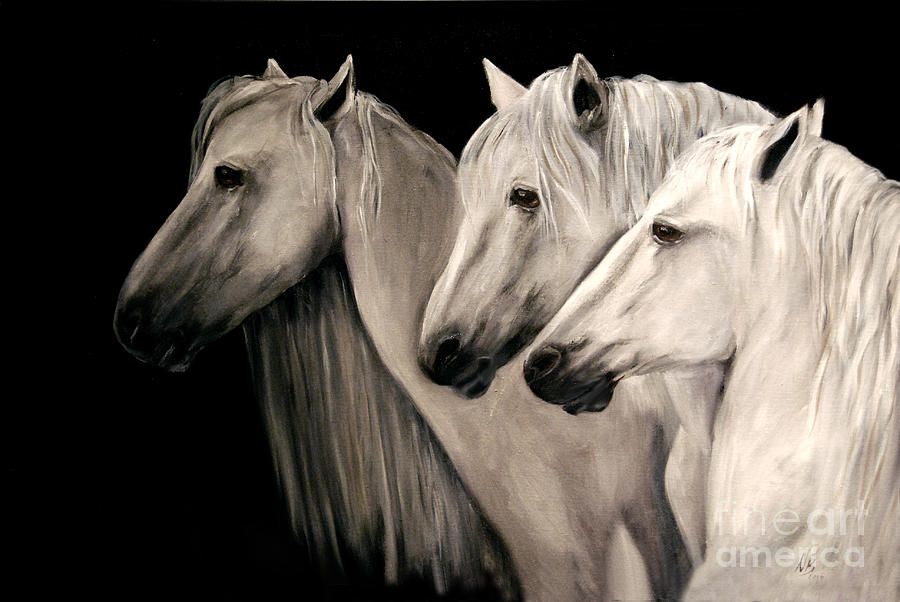 Three White Horses Painting