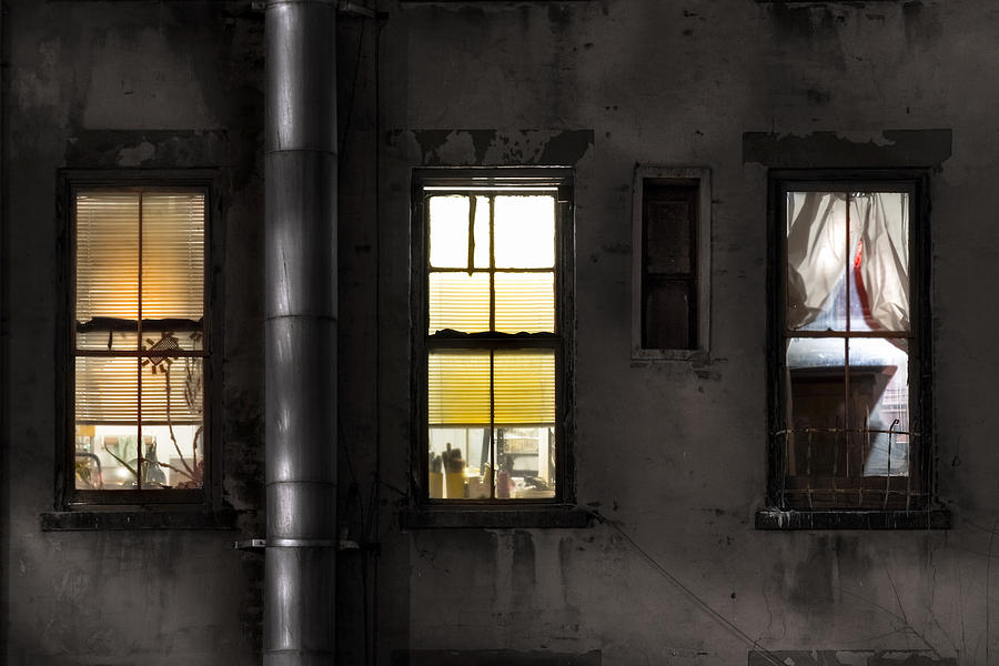 Three Windows And Pipe - The Story Behind The Windows Photograph  - Three Windows And Pipe - The Story Behind The Windows Fine Art Print