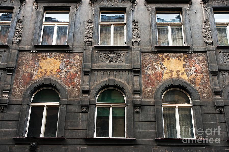 Three Windows In Prague Photograph