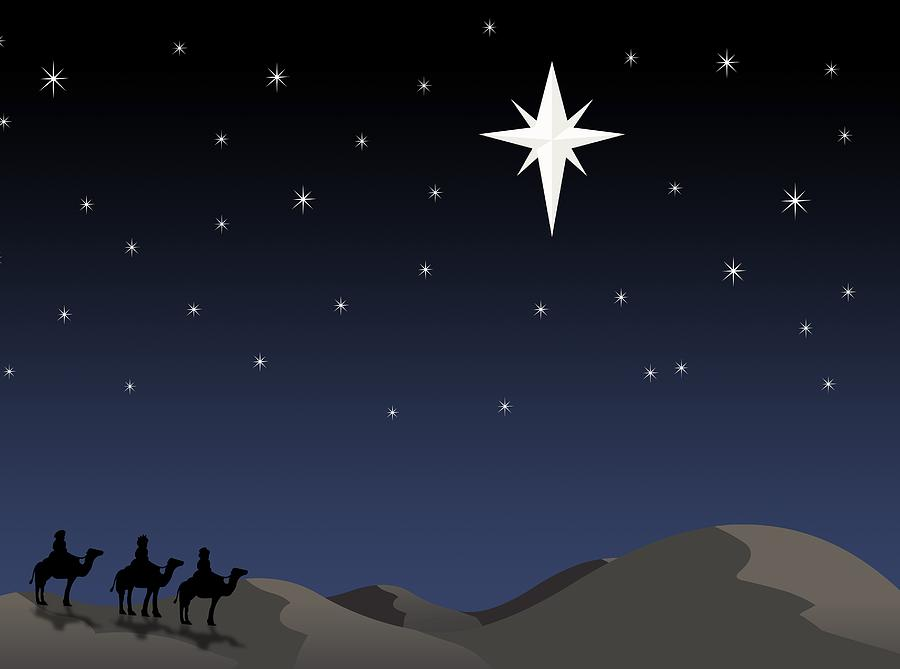Three Wisemen Following Star Photograph  - Three Wisemen Following Star Fine Art Print