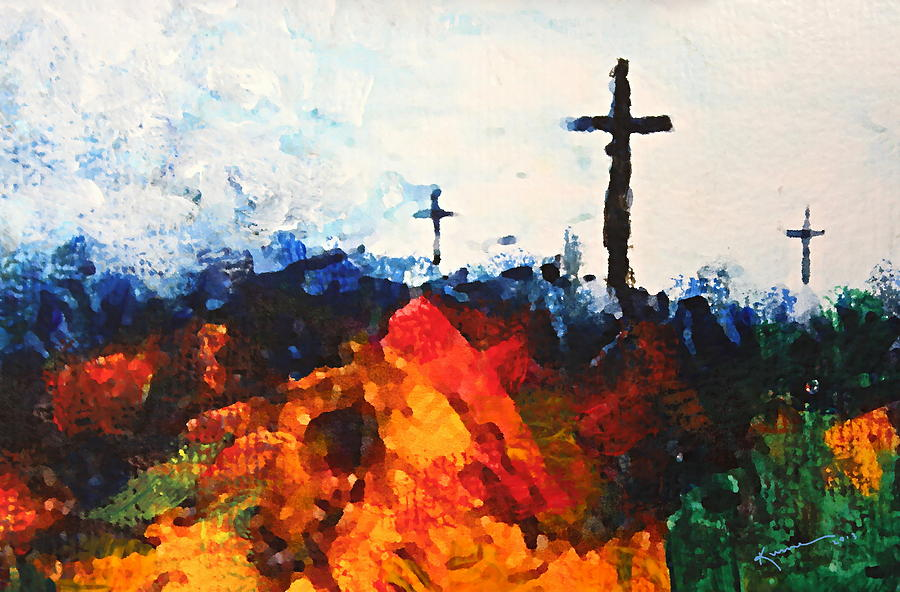 Three Wooden Crosses Painting - Three Wooden Crosses by Kume Bryant