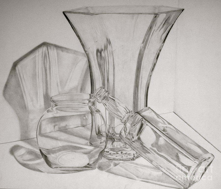 Still Life Drawing - Through The Glass by Jen Santa