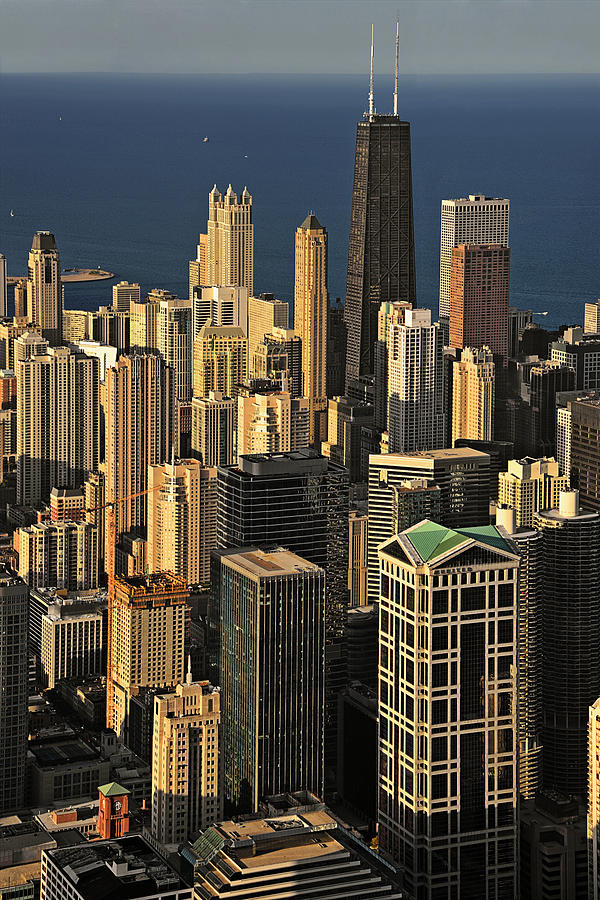 Aerial Photograph - Through The Haze Chicago Shines by Christine Till