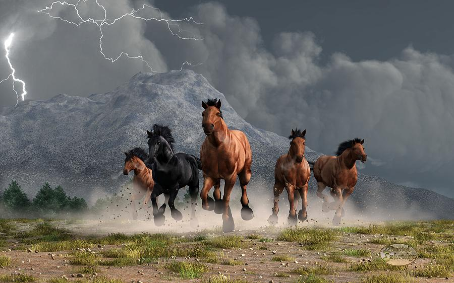 Thunder On The Plains Digital Art  - Thunder On The Plains Fine Art Print