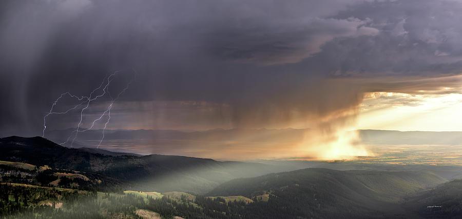 Altitude Photograph - Thunder Shower And Lightning Over Teton Valley by Leland D Howard