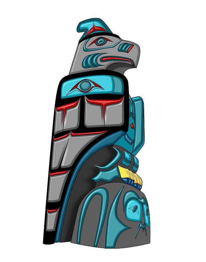 Totem Pole Thunderbird Drawing Thunderbird Totem Pole Drawing