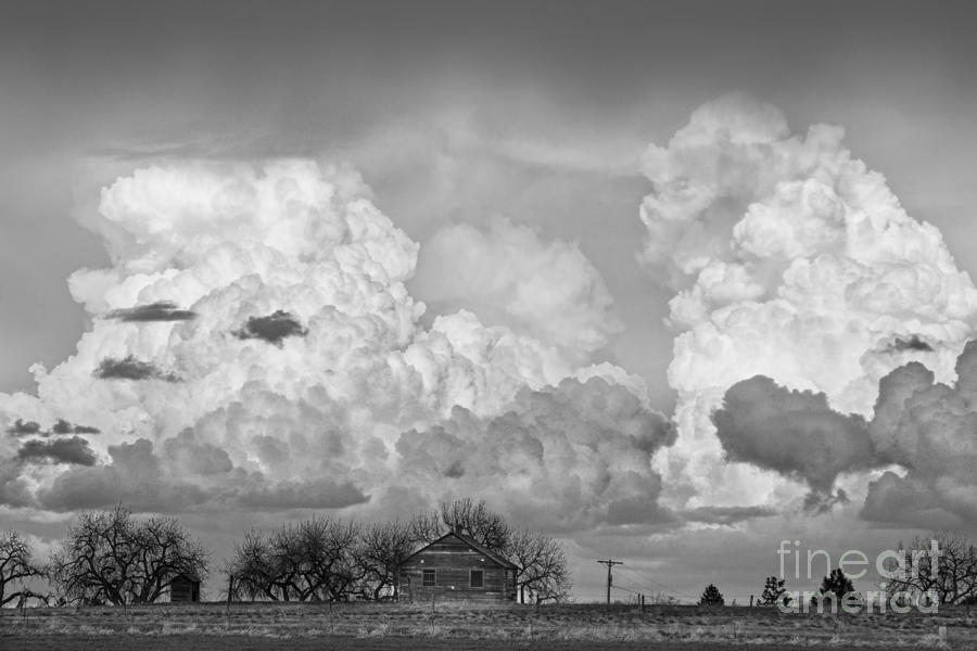 Thunderstorm Clouds And The Little House On The Prarie Bw Photograph