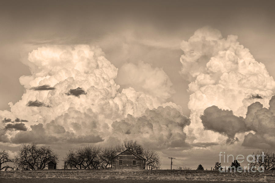 Thunderstorm Clouds And The Little House On The Prarie Sepia Photograph  - Thunderstorm Clouds And The Little House On The Prarie Sepia Fine Art Print