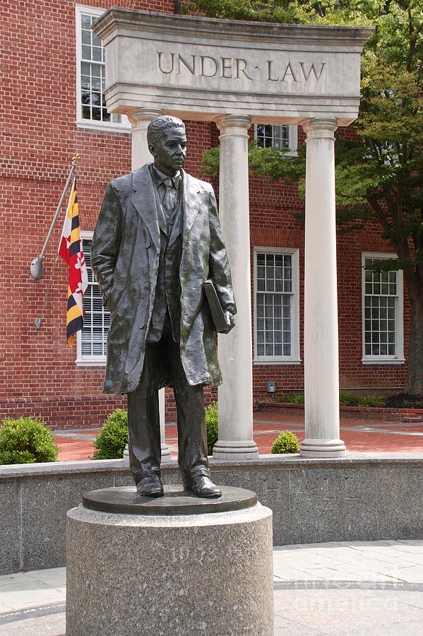 Thurgood Marshall Statue With Maryland State Flag is a photograph by ...
