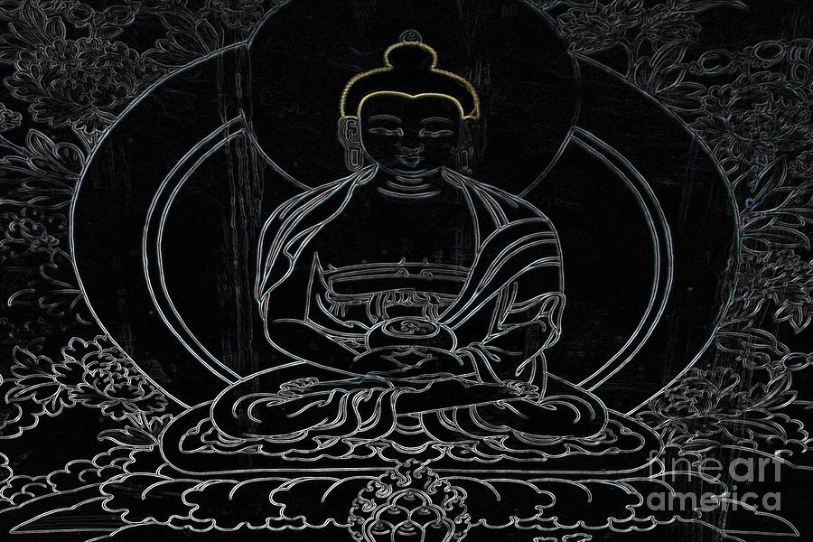 Tibet Buddha Black Photograph