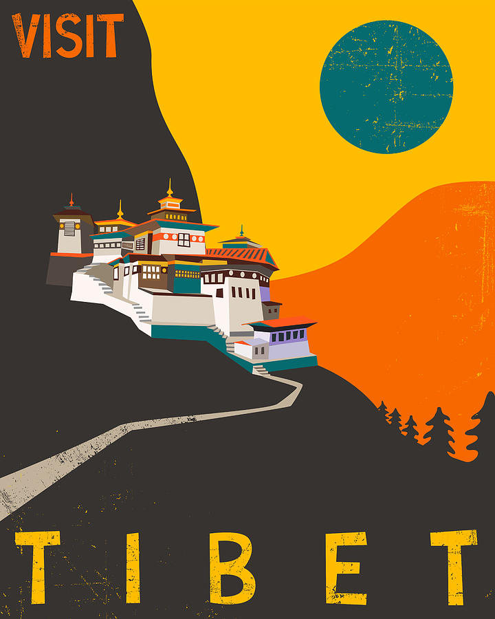 Tibet Travel Poster Digital Art  - Tibet Travel Poster Fine Art Print