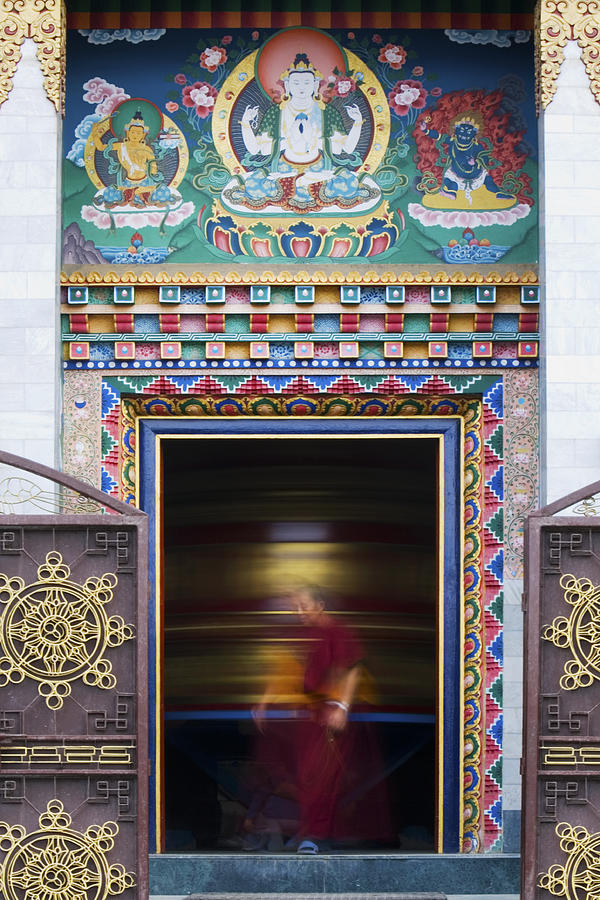 Tibetan Monk And The Prayer Wheel Photograph  - Tibetan Monk And The Prayer Wheel Fine Art Print