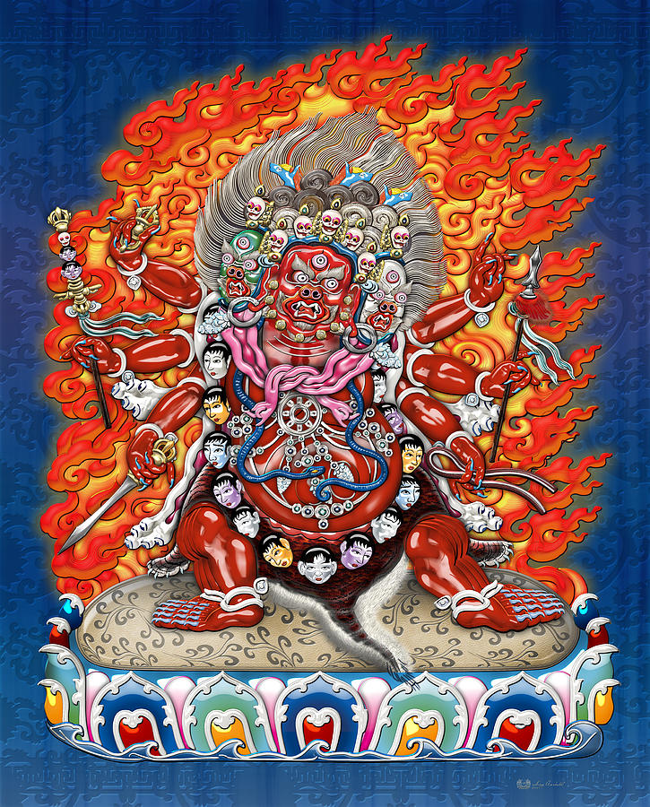 Tibetan Thangka  - Wrathful Deity Hayagriva Digital Art