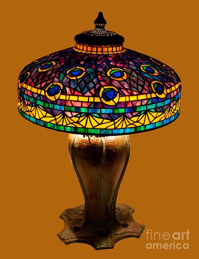 Tiffany Peacock Lamp Glass Art