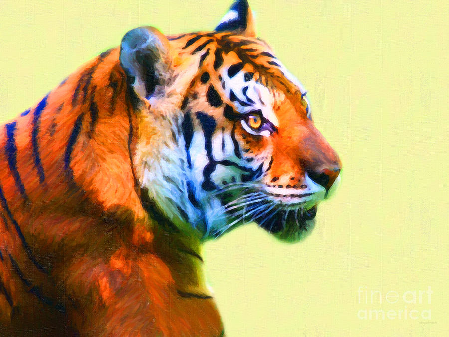 Tiger . 7d2058 . Painterly Photograph  - Tiger . 7d2058 . Painterly Fine Art Print