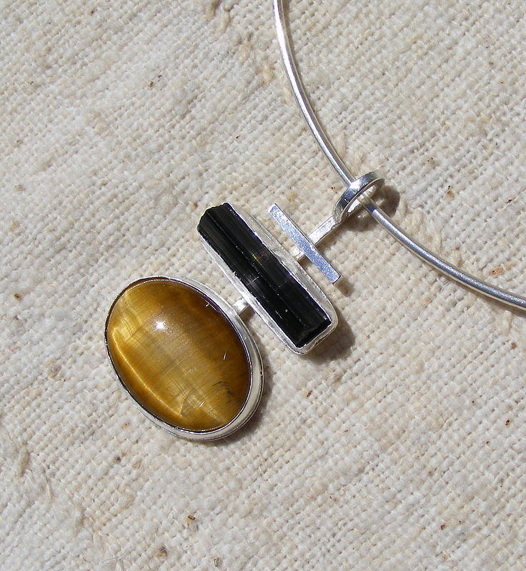 Pendant Jewelry - Tiger-eye And Tourmaline Pendant by Barbara Jacquin