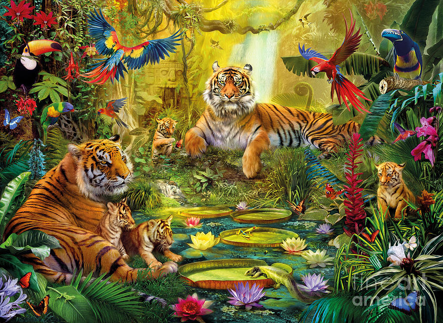 Tiger Family In The Jungle Digital Art
