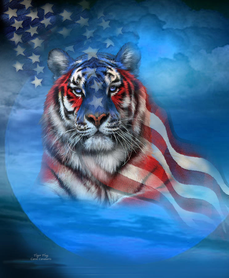 Tiger Flag Mixed Media  - Tiger Flag Fine Art Print