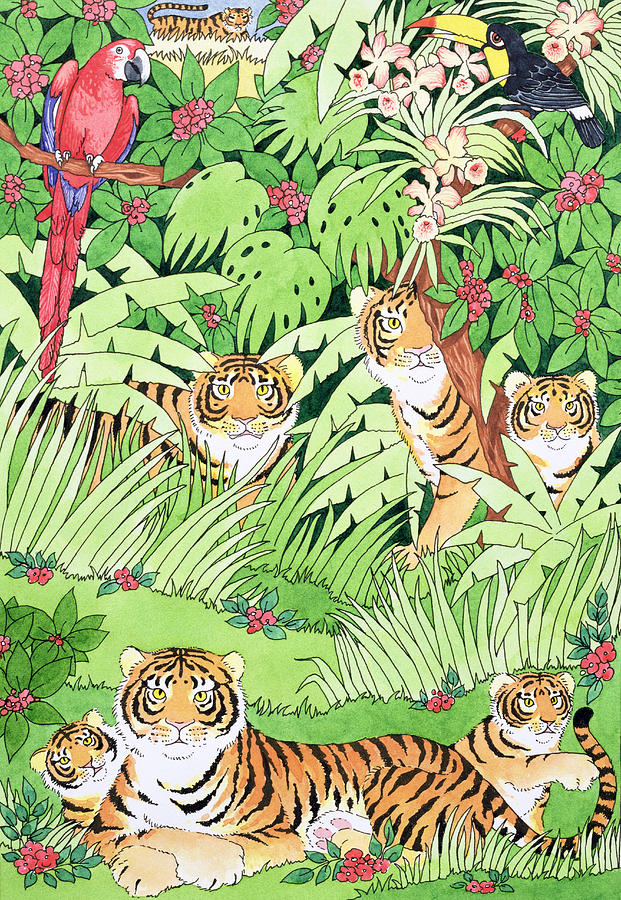 Tiger Jungle Painting  - Tiger Jungle Fine Art Print