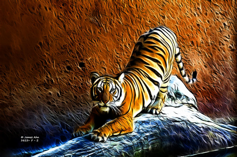 Tiger Pounce -  Fractal - S Digital Art