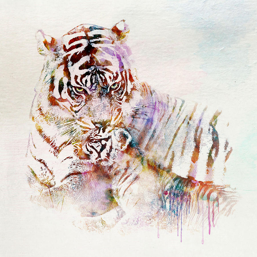 Tiger With Cub Watercolor Mixed Media By Marian Voicu