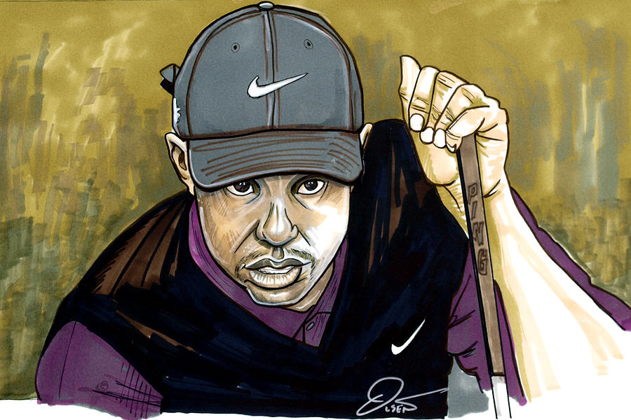 Tiger Woods Drawing  - Tiger Woods Fine Art Print