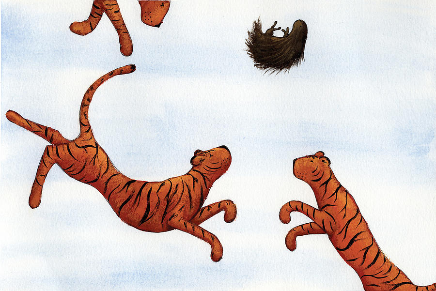 Tigers On A Trampoline Painting