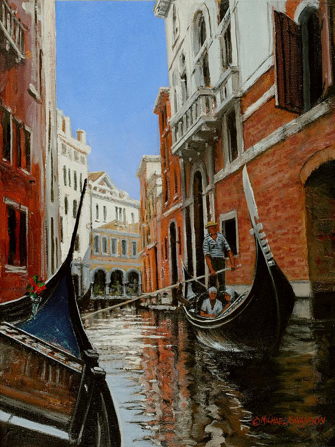 Venice Gondola Painting - Tight Quarters by Michael Swanson