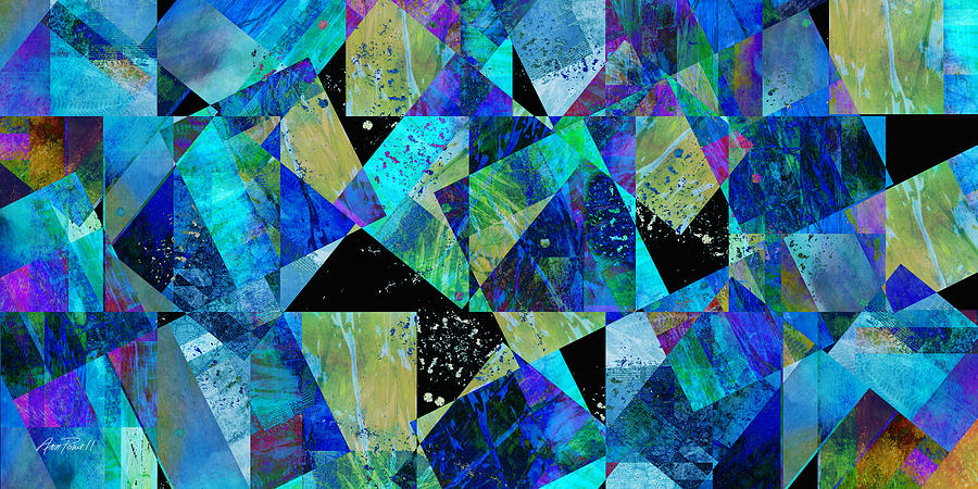 Tilt In Blue - Abstract - Art Digital Art  - Tilt In Blue - Abstract - Art Fine Art Print