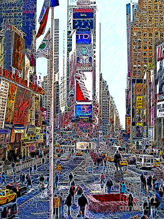 Time Square Photograph - Time Square New York 20130503v6 by Wingsdomain Art and Photography