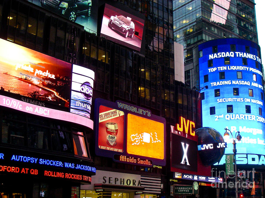 Times Square At Night New York City Photograph  - Times Square At Night New York City Fine Art Print