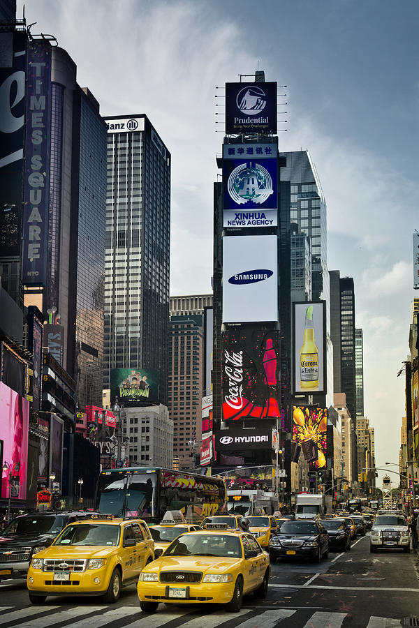 Times Square Nyc And Yellow Cabs Photograph