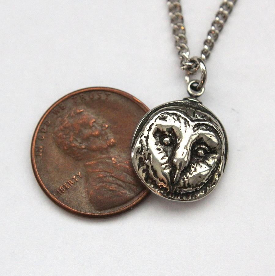 Barn Owl Bird Of Prey Night Wise Pendant Necklace Jewelry Face Hoot Sculpture - Tiny Barn Owl Pendant Necklace In Solid White Bronze by Michael  Doyle