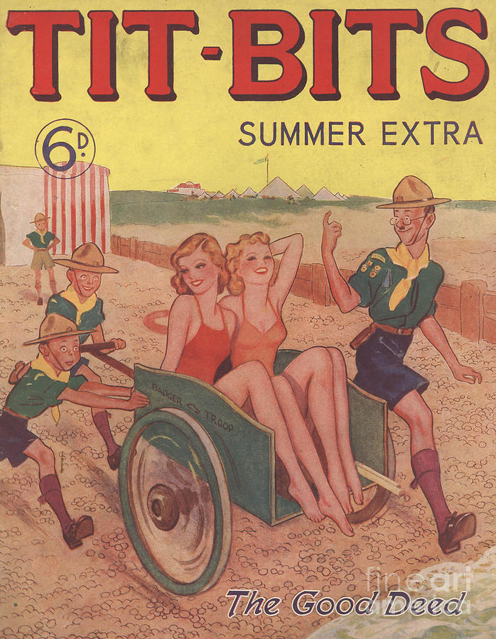 Tit-bits 1930s Uk Boy Scouts Holidays Drawing