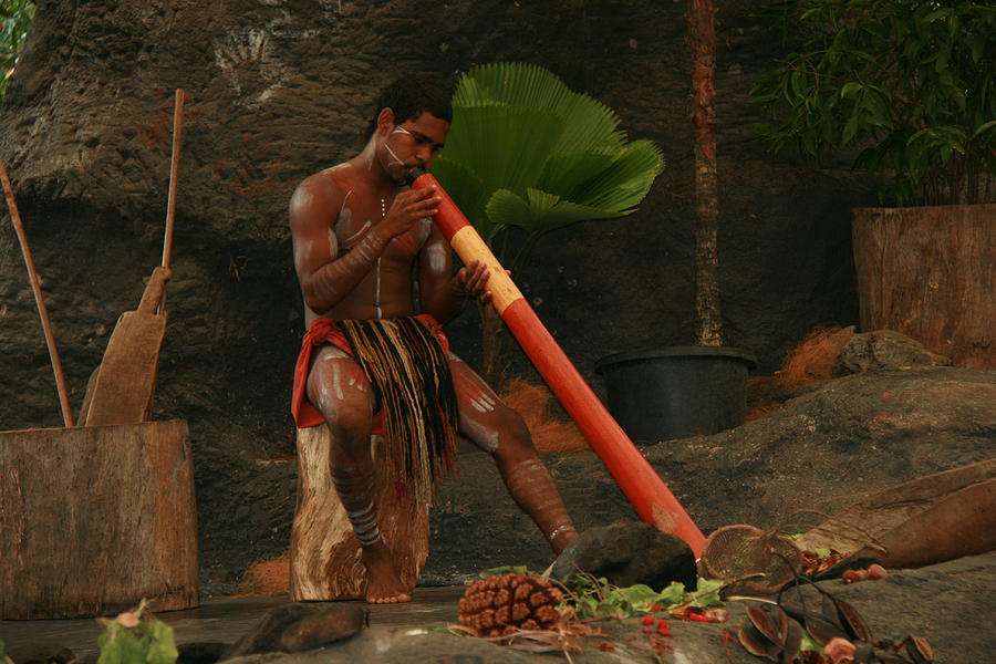 Tjapukai Playing The Didgeridoo Photograph  - Tjapukai Playing The Didgeridoo Fine Art Print