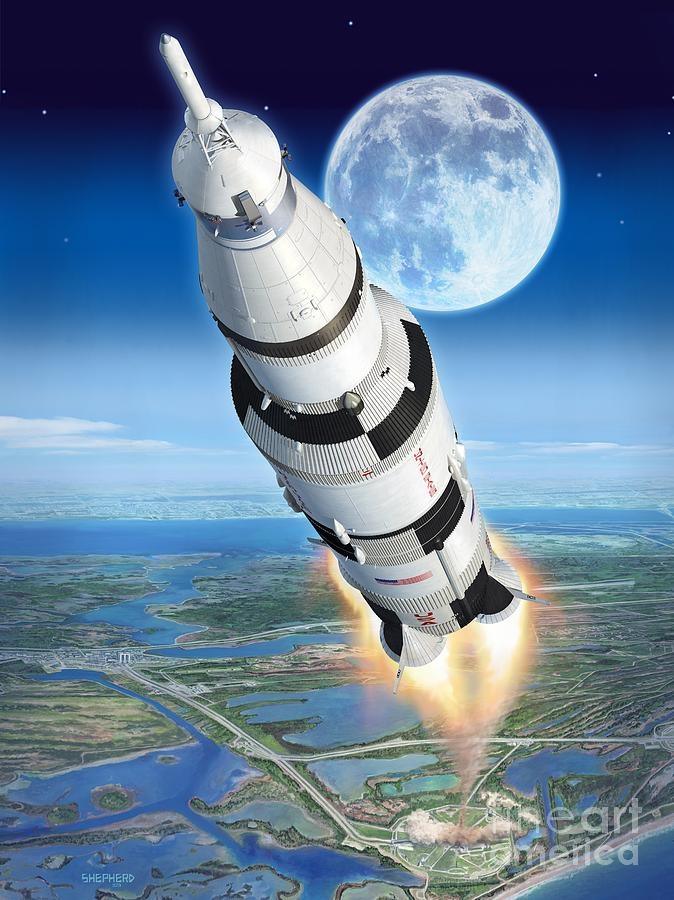 To The Moon Apollo 11 Digital Art  - To The Moon Apollo 11 Fine Art Print