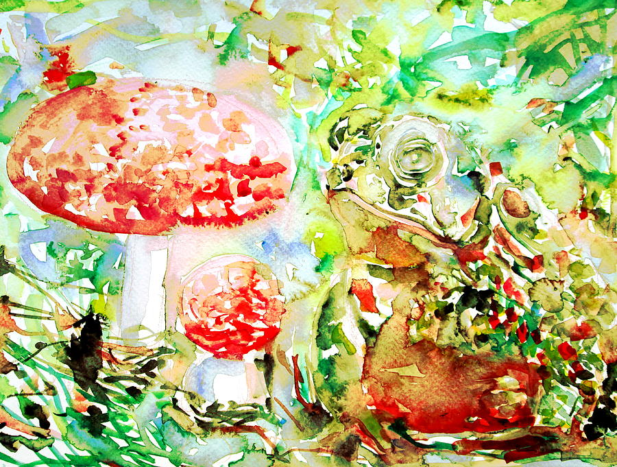 Toad And Mushroom.2 Painting  - Toad And Mushroom.2 Fine Art Print