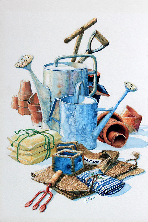 Todays toil tomorrows pleasure iv painting by hanne lore for Gardening tools drawing