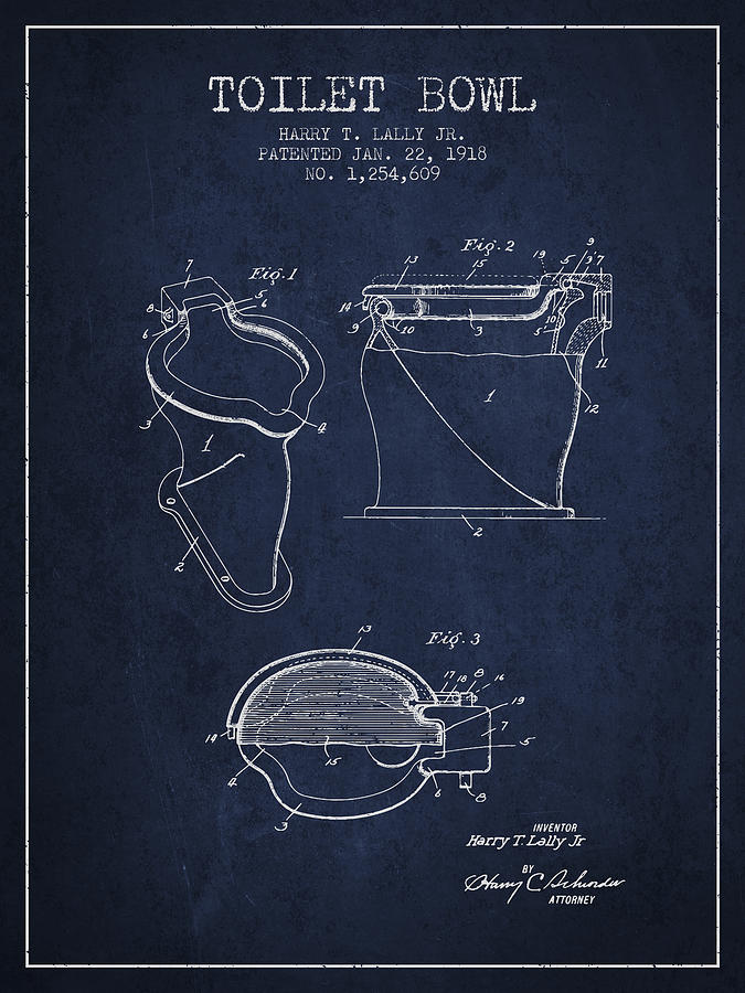 Toilet Bowl Patent From 1918 - Navy Blue Digital Art