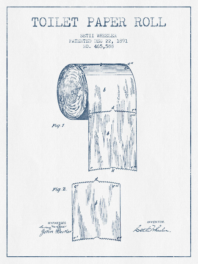 Toilet Paper Roll Patent Drawing From 1891 - Blue Ink ...
