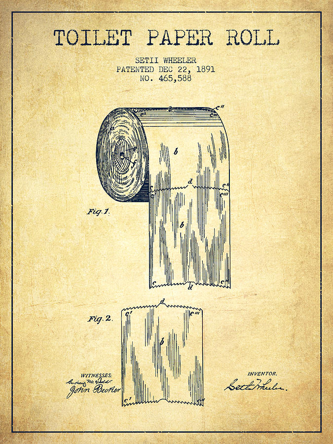 Toilet Paper Roll Patent Drawing From 1891 - Vintage ...